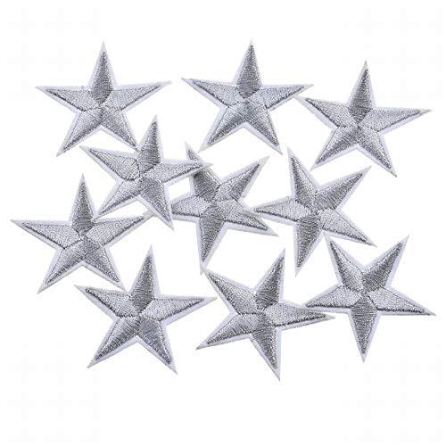 VALYRIA Flicken Aufnäher Applikation Aufbügelbilder Silber Sternen 10Stücke