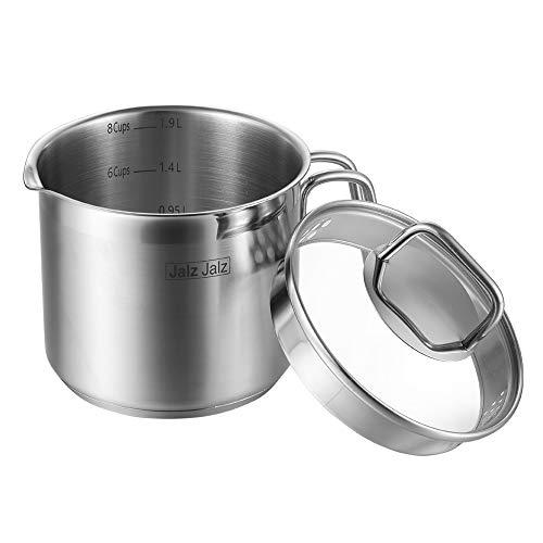 jalz jalz Stainless Steel Saucepan With Glass Lid,Classic...