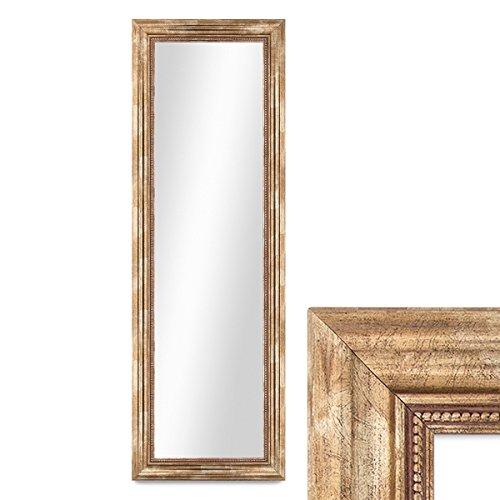 PHOTOLINI Wand-Spiegel 40x100 cm im Massivholz-Rahmen Barock-Stil Antik Gold/Spiegelfläche 30x90 cm