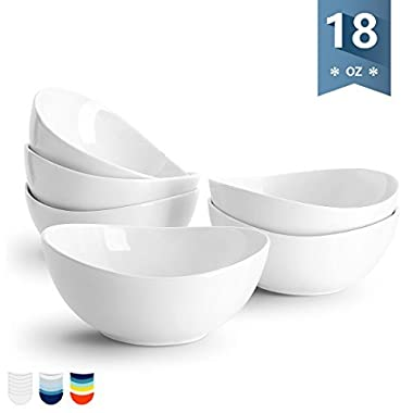 Sweese 1101 Porcelain Bowls - 18 Ounce (Top to the Rim) for Cereal, Salad, Dessert - Set of 6, White