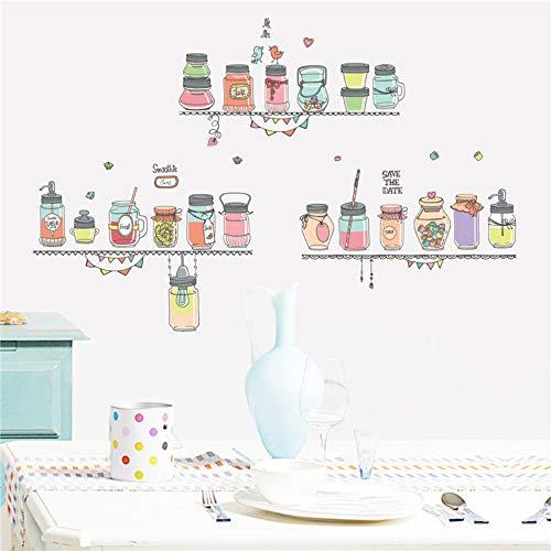 Familie Restaurant Muurstickers Kleurrijke Smoothie Fruit Sap Fles Snoep Potje Muursticker Creatieve DIY Vinyl Huisdecoratie Stickers 60x90cm