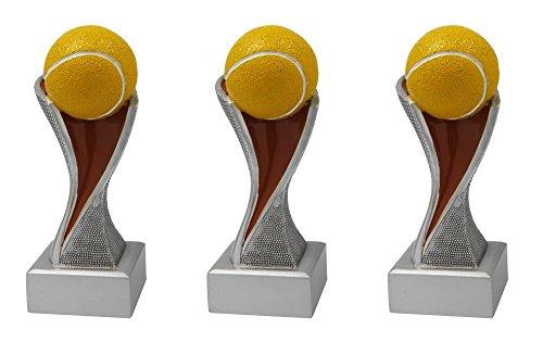RaRu Tennis-Pokale mit Wunschgravur (Einzelpokal oder 3er-Serie) + 3 Tennis Anstecknadeln (Sticker) (3er-Serie)