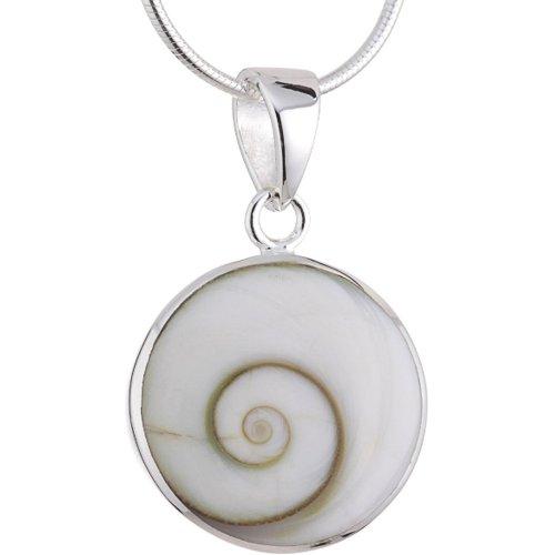 Vinani Anhänger Shiva Auge Kreis Fassung glänzend mit Schlangenkette 45 cm Sterling Silber 925 Kette Italien ASA-S45