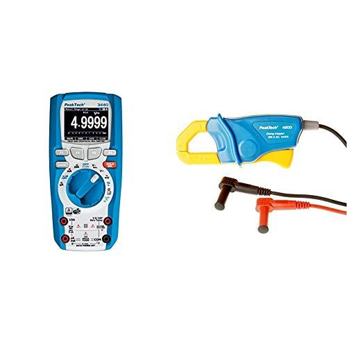 PeakTech 3440 True RMS Digital Multimeter mit Bluetooth & Grafik-Display, Profi-Handmultimeter, Autorange, Spannungsmesser, Durchgangsprüfer, Messgerät CAT III 1000 + PeakTech Stromzangenadapter