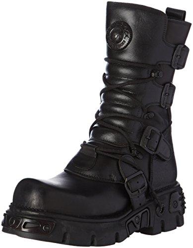 New Rock Unisex-Erwachsene M 373 S18 Biker-Stiefel, Wadenhoch, Schwarz, 42 EU
