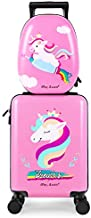 iPlay, iLearn Unicorn Kids Luggage, Girls Carry on Suitcase W/ 4 Spinner Wheels, Pink Travel Luggage Set W/ Backpack, Trolley Luggage for Children Toddlers