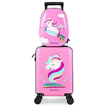iPlay iLearn Unicorn Kids Luggage Girls Carry on Suitcase W/ 4 Spinner Wheels Pink Travel Luggage Set W/ Backpack Trolley Luggage for Children Toddlers