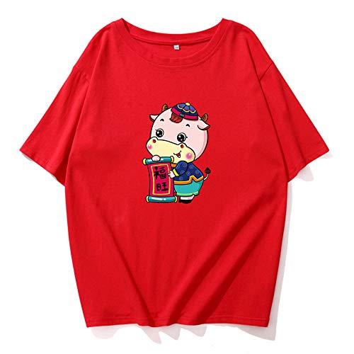 Año de la Buey Camisetas,Weiii Casual Suelto Camisetas para Hombres Y Mujeres,Camisetas con Zodíaco Signos,Verano Festivo Corto Manga Camisetas,Pareja Camisetas Moda Fósforo/D/M