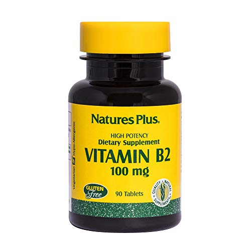 NaturesPlus Vitamin B2 (Riboflavin) - 100 mg, 90 Vegetarian Tablets - Natural Energy & Metabolism Booster, Promotes Overall Health - Gluten-Free - 90 Servings