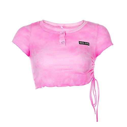 Hiser Top Corto Y2K para Mujer, Camiseta de Manga Corta Tie Dye Verano Short Sleeve Cuello Redondo Camiseta Corta para Ropa de Calle Sexy (Amarillo,S)