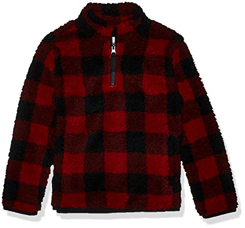 Amazon Essentials Quarter-Zip High-Pile Polar Fleece outerwear-jackets, Red Buffalo Check, 2T