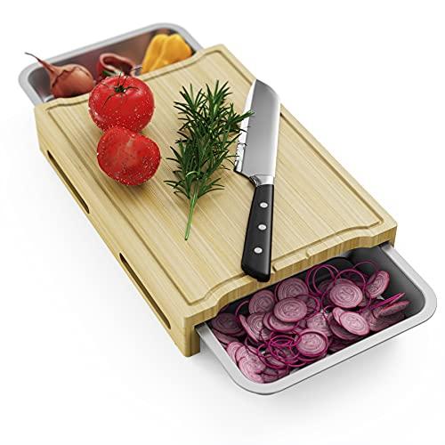 Bambus Schneidebrett,Schneidebrett mit Auffangschale, Frühstücksbrettchen Hackbretter für die Küche mit 2 Stück Rostfreie ausziehbaren Auffangschale zum Obst, Käse, Fleisch,Gemüse(XXL 16 X 12 Zoll)
