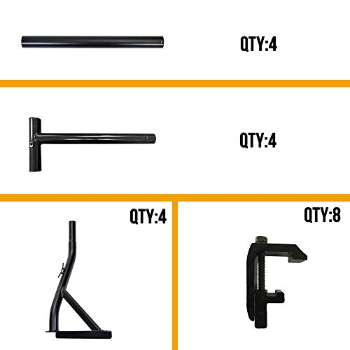 Truck Ladder Rack 800lbs Capacity with 8 Non-Drilling Utility Track System Mounting Clamp Heavy Duty Extendable Universal Pickup Ladder Rack Two-bar Set Matte Black One Pair