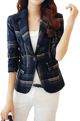 Vrouwen Slim Fit Plaid Casual Vintage Blazer Jacket Coat