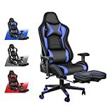DualThunder Gaming Chair with Footrest, Gaming Chairs, Comfortable Office Chairs Ergonomic Computer Gamer Chair with Headrest and Lumbar Support, High Back Gaming Chairs for Teens Adults, Gamer, Blue