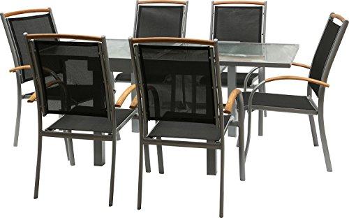 IB-Style - DIPLOMAT-Quadro Gartengarnitur | 6 Kombinationen - mit Stapelstühle | Alu SILBERMATT + TEAKHOLZ + Textilen SCHWARZ | 6 Kombinationen | Ausziehtisch mit Sicherheitsglas 90 - 180 cm | Stapelstühle Gartenmöbel Hochlehner Tisch | 7-teilig
