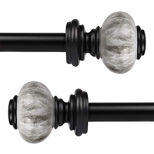 KNOBWELL 2 Pack 3/4-Inch Diameter Single Window Treatment Curtain Rod, Marble Styled Ball Finial, 22-inch to 42-inch Adjustable, Black Cafe Window Rods