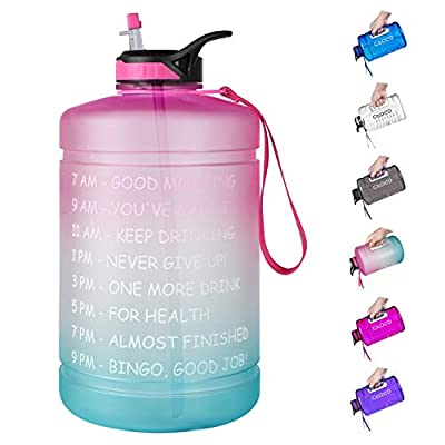 Opard Gallon Water Bottle with Time Marker Straw and Handle 128oz 1 Gallon Water Jug BPA Free Motivational Big Large Sports Water Bottle for Gym Fitness (7-1 Pink & Blue Gradient)