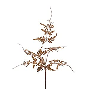 Arcadia Silk Plantation 24″ Glittered Fern Spray Gold (Pack of 12)