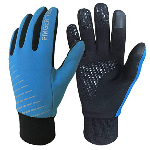 FINGER TEN Handschuhe Kinder (2-15 Jahre) Winter Frühling Licht Für Jungen Mädchen Fahrrad Laufen Fußball Handschuhe Outdoor Sport Touchscreen Warm Winddicht rutschfest Paar S M L XL (L, Blau)