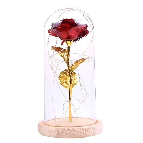 Pflanze Licht, Nachtlicht, Goldblatt-Rosen-Blumen, dekorative Dekoration mit Glasabdeckung, künstliche Blumen-Dekoration-Lampe (Color : Dark red)