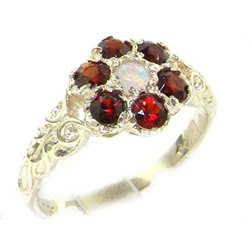Victorian Ladies Solid Sterling Silver Natural Fiery Opal & Garnet Daisy Ring - Size P