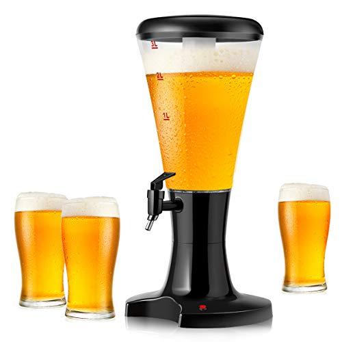 DREAMADE Bierspender 3 L, Biertower Biersäule mit Zapfhahn, Bierspender mit Kühlung & Buntem Lichter, Zapfsäule Getränkespender Trinksäule Getränkesäule