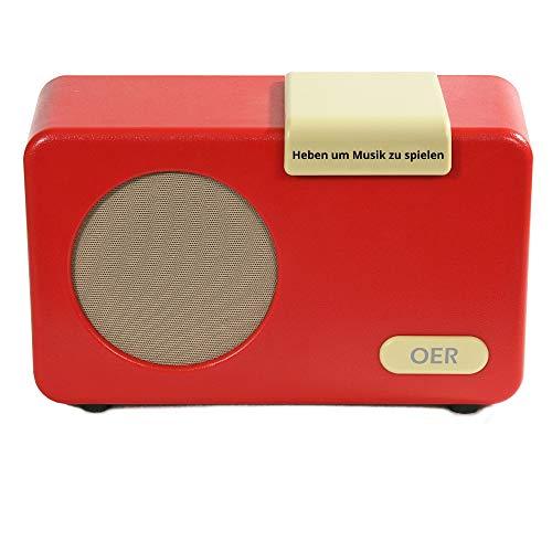OER Musik Player, Musikbox für Demenzpatienten, Seniorenradio mit Leichte Bedienung, Speziell für Senioren mit Alzheimer, Geschenk für Menschen mit Demenz, Demenz Hilfsmittel (Rot)