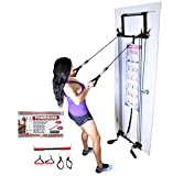 Tower 200 Home Gym Workout Resistance Bands Door Gym w Ankle Straps and Straight Bar Included