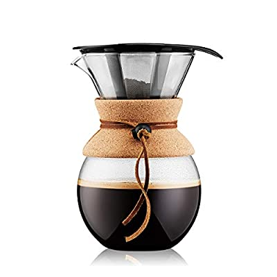 Bodum 11571-109 Pour Over Coffee Maker with Permanent Filter, Glass, 34 Ounce, 1 Liter, Cork Band