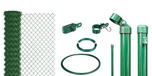 GAH-Alberts, grün 633264 Maschendrahtzaun als Zaun-Komplettset, zum Einbetonieren wahlweise in verschiedenen Farben | kunststoffbeschichtet, Höhe 150 cm | Länge 15 m