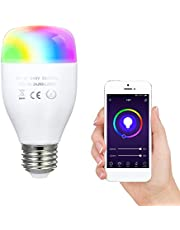 Goolsky 7W Wi-Fi Smart Bulb Dual Mode Warm White & RGB Color Changing Music Lamp Voice Control APP Control Timing Function Multicolored LED Light Intelligent Wireless Bulb E27 AC220V