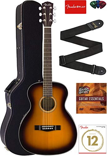 Fender CT-140SE Travel Acoustic-Electric Guitar - Natural Bundle with Hard Case, Strap, Strings, Picks, and Instructional DVD