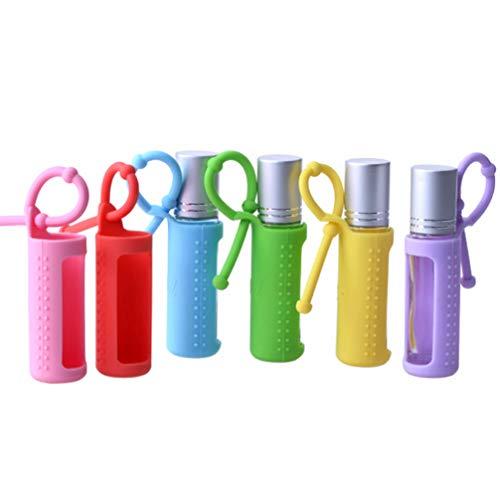 FRCOLOR Portabotellas Enrollables de Silicona 10Ml de Aceite Esencial Carring Funda de Viaje Cubierta de Botella Enrollable con Gancho Colgante 6 Piezas (Color Aleatorio)