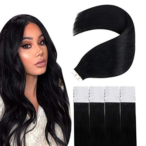 Easyouth Cheveux Humains Adhesive Tape Beauty on Line Tape dans les Extensions De Cheveux Colored Jet Black Ruban à Cheveux Double Face 16pouce 40g 20