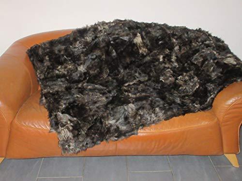 Felltrade Echte Öko Merino Schaffell Lammfell Patchwork Wohndecke Sofadecke, braun-beige, 170 x 200 cm