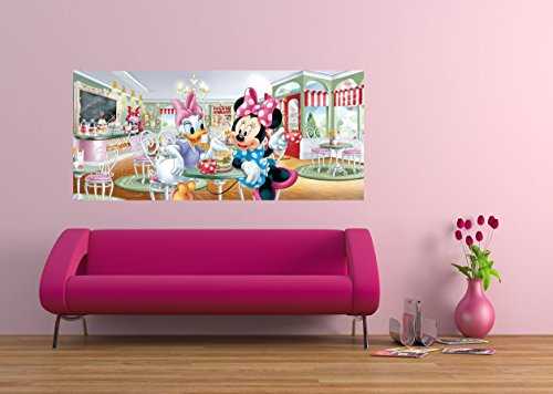 AG Design FTDh 0644 Minnie Maus Daisy Disney, Papier Fototapete Kinderzimmer - 202x90 cm - 1 Teil, Papier, multicolor, 0,1 x 202 x 90 cm