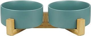 グリーン ペット ボウル フードボウル 犬 猫食器 陶器 大容量 850MLウォーター ボウル 犬猫用 餌入れ 水入れ 水飲みボウル 木製 ペット皿 滑り止め 安定感 取り外し可能 手入れ簡単 ペット用品(2個)