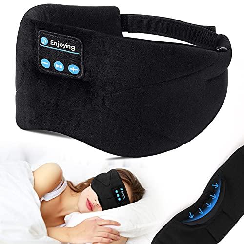 Schlafkopfhörer Bluetooth, LC-dolida Schlafmaske Musik Augenmaske Kabellose Schlaf Headset Lichtblockierende Schlafbrille mit Mikrofon für Nickerchen, Schlafen, Yoga und Reisen, Waschbar - Schwarz