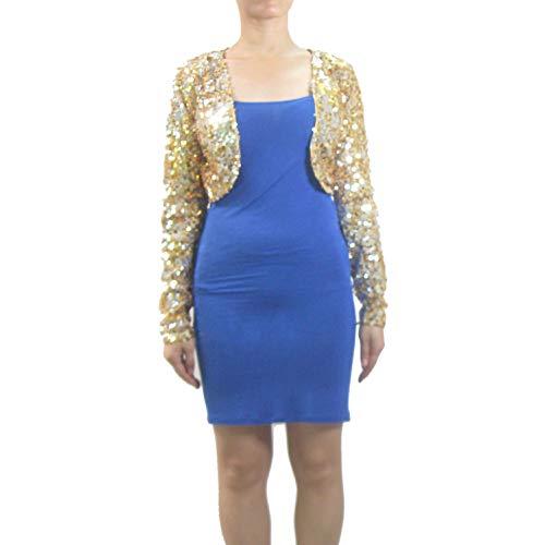 Ladies Women Long Sleeve Metallic Sequin Bolero Style Shrug Cardigan Jacket Gold