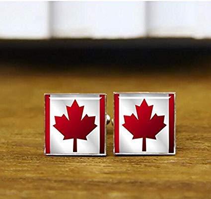 Manschettenknöpfe mit kanadischer Flagge, kanadische Nationalflagge, Patriot-Manschettenknöpfe, rund, quadratisch