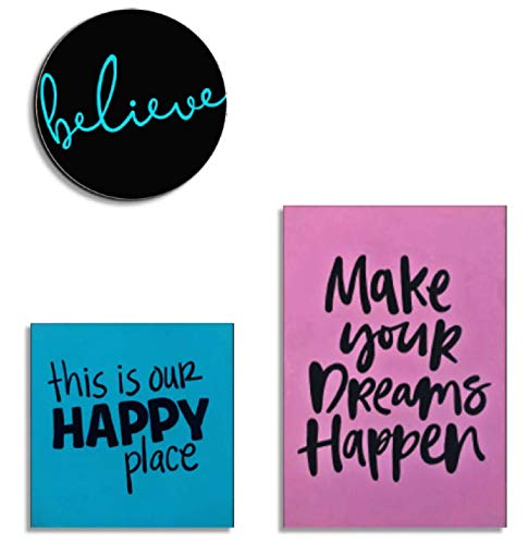 Ares Design Atelier Juego de 3 Cuadros Decorativos con Frases Make Your Dreams Happen (Rosa/Turquesa)