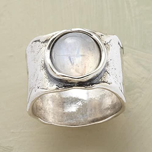 SHILIU Vintage Bohemian Moonstone Fedi di Nozze Per Le Donne Colore Oro Bianco Retro Grande Pietra Promessa Anelli Dichiarazione Ragazze Gioielli
