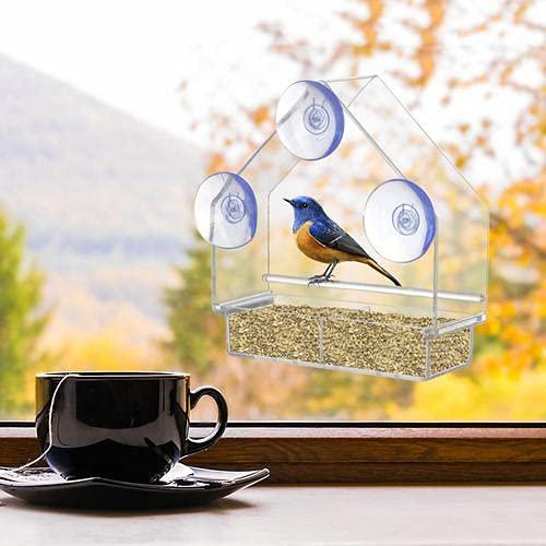 chifans Großer Fenster Vogelfutterspender Transparenter Futterstationen für Wildvögel, Vogel-Futterhaus aus Acryl, Vogelhaus Fenster Vogelfutterstation mit 3 Saugnäpfen