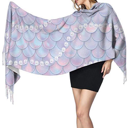 Quecci Bufanda de mantón,Fish Scales And Pearls Pattern Mermaid Women's Long Large Shawl Wrap Oversized Winter/Fall Warm Blanket Scarf Unisex 68-196cm