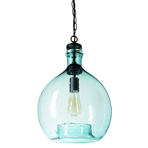 CASAMOTION Wavy Hammered Hand Blown Glass Pendant Light, 1 hanging Light, 13'' diam.19.9''h, Sea Green