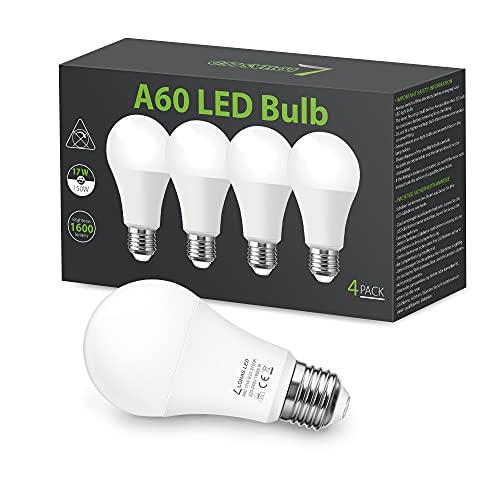 LOHAS 17W E27 LED Lampen, Warmweiß Birnen, 150W Glühlampen Äquivalent, 1600LM, 2700K, A60, Nicht Dimmbar, für Haus- und Geschäftsbeleuchtung, 240 Grad Abstrahlwinkel, 220-240V, 4er-Pack