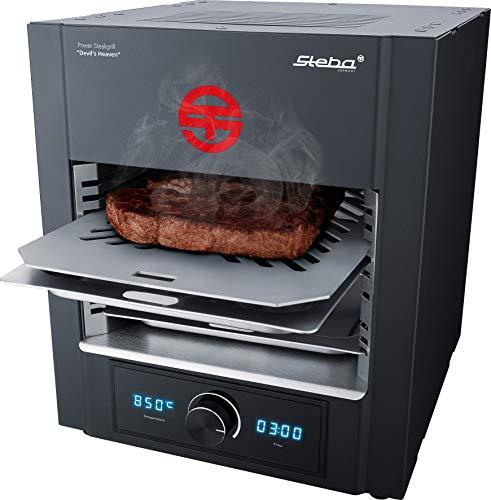Steba Power ELEKTRO Steakgrill PS M2000 Devil's Heaven | elektronische Temperaturregelung von 400 bis 850°C | Timer bis 99:59 Minuten | Entnehmbarer Edelstahl-Einschubrahmen | 2000 Watt