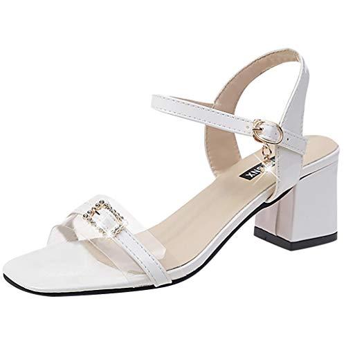 NMERWT Frauen Sandalen Mode Sommer Pumps High Heel Sandalen Schnalle tragen Casual Eimer Peep Toe Sandalen Damenschuhe Sandalen mit hohen Absätzen