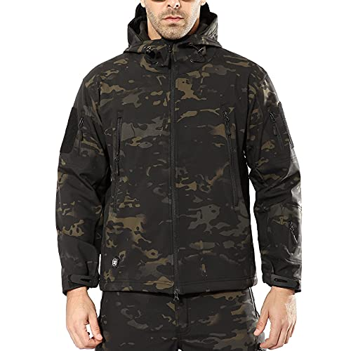 ANTARCTICA Men's Outdoor Waterproof Soft Shell Hooded Military Tactical Jacket (Black Camo, Small)